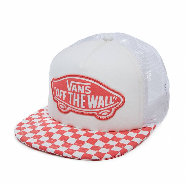 VANS BEACH GIRL TRUCKER HAT Spiced Coral Checkerboard V00H5LP39