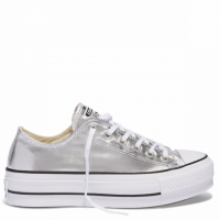 CONVERSE ALL STAR PLATFORM LIFT CANVAS OX  560248C SILVER/BLACK/WHITE